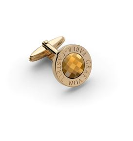 Graf-von-Faber-Castell - Cufflinks round, gold-plated with faceted citrine