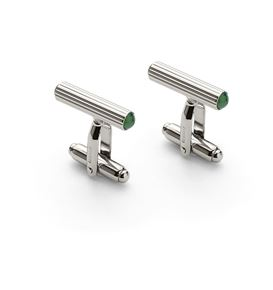 Graf-von-Faber-Castell - Cufflinks cylindrical, platinum-plated with jade